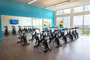 indoor cycling studio at Texas A&M