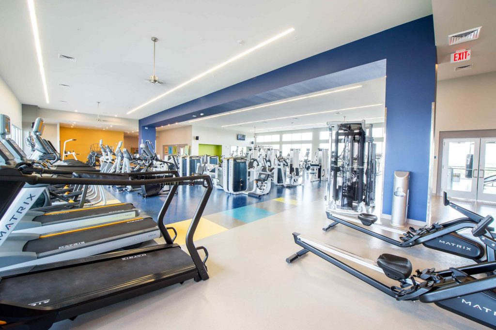 Treadmills and rowers installed ina college gym